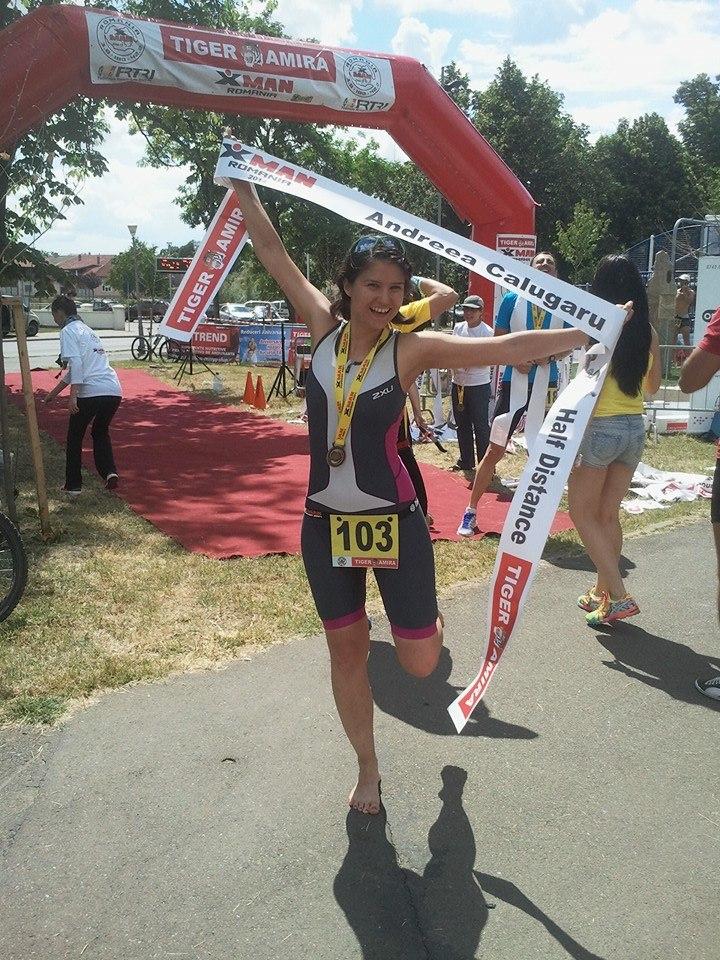 Andreea a devenit anul trecut campioana nationala pe distanta de half ironman, la Oradea; foto credit arhiva personala